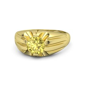 Men's Round Yellow Sapphire 14K Yellow Gold Ring