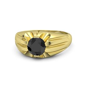 Men's Round Black Diamond 18K Yellow Gold Ring