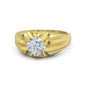 Round Diamond 18K Yellow Gold Ring