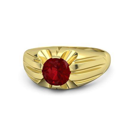 Men s Round Ruby 18K Yellow Gold Ring Stellar Ring