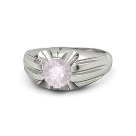 Men's Round Rose Quartz Palladium Ring