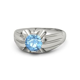 Round Blue Topaz Platinum Ring