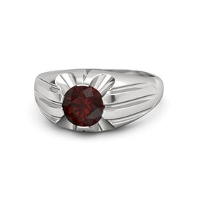 Men's Round Red Garnet Sterling Silver Ring