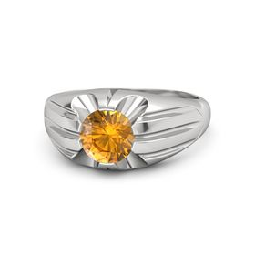 Men's Round Citrine Sterling Silver Ring