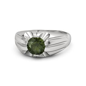 Men's Round Green Tourmaline Sterling Silver Ring