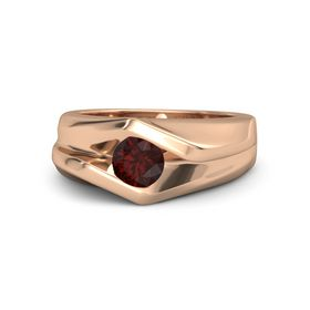 Men's Round Red Garnet 14K Rose Gold Ring