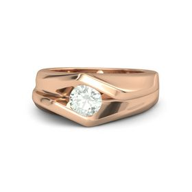 Men's Round Green Amethyst 14K Rose Gold Ring