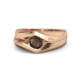 Men's Round Smoky Quartz 14K Rose Gold Ring