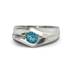 Men's Round London Blue Topaz 14K White Gold Ring