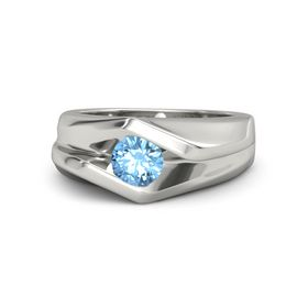 Men's Round Blue Topaz 14K White Gold Ring