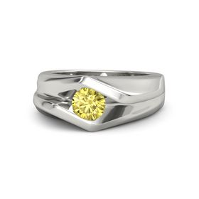 Men's Round Yellow Sapphire 14K White Gold Ring
