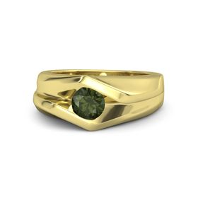 Men's Round Green Tourmaline 14K Yellow Gold Ring