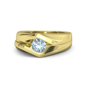 Men's Round Aquamarine 14K Yellow Gold Ring