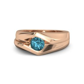 Men's Round London Blue Topaz 18K Rose Gold Ring