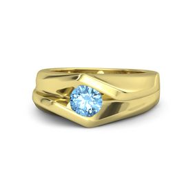 Men's Round Blue Topaz 18K Yellow Gold Ring