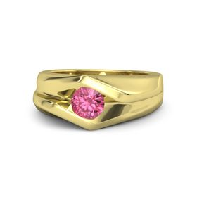 Round Pink Tourmaline 18K Yellow Gold Ring