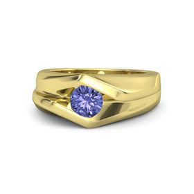 Men's Round Tanzanite 18K Yellow Gold Ring