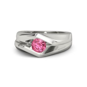 Men's Round Pink Tourmaline Palladium Ring