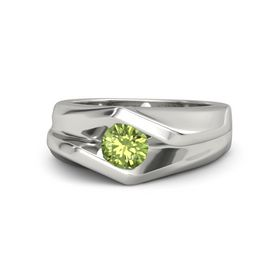 Men's Round Peridot Platinum Ring