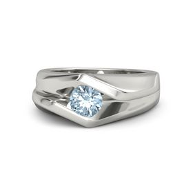 Men's Round Aquamarine Platinum Ring