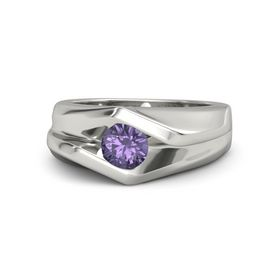 Men's Round Iolite Platinum Ring