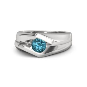 Men's Round London Blue Topaz Sterling Silver Ring