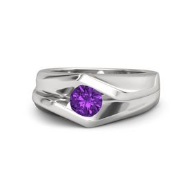 Men's Round Amethyst Sterling Silver Ring