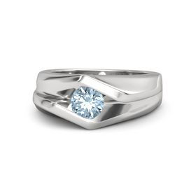 Men's Round Aquamarine Sterling Silver Ring