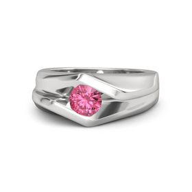 Men's Round Pink Tourmaline Sterling Silver Ring