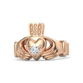 Men's Round Diamond 14K Rose Gold Ring