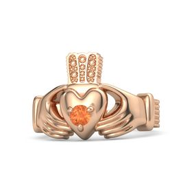 Men's Round Fire Opal 14K Rose Gold Ring