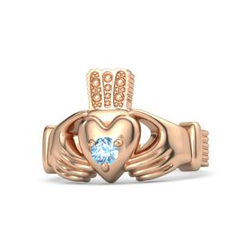 Men's Round Blue Topaz 14K Rose Gold Ring
