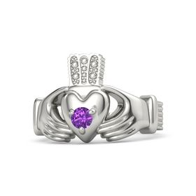 Men's Round Amethyst 14K White Gold Ring