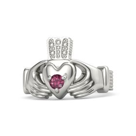 Men's Round Rhodolite Garnet 14K White Gold Ring