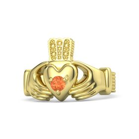 Men's Round Fire Opal 14K Yellow Gold Ring