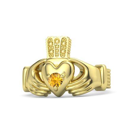 Mens K White Gold Claddagh Ring