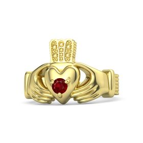 Men's Round Ruby 14K Yellow Gold Ring