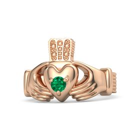 Men's Round Emerald 18K Rose Gold Ring