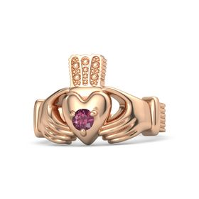 Men's Round Rhodolite Garnet 18K Rose Gold Ring