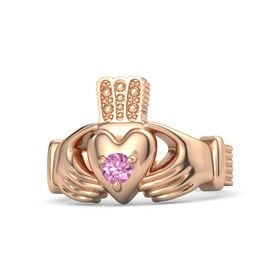 Men's Round Pink Sapphire 18K Rose Gold Ring