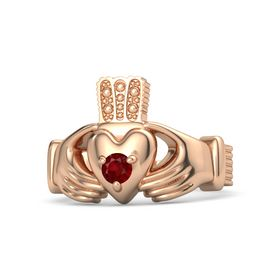 Men's Round Ruby 18K Rose Gold Ring
