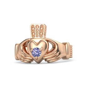 Men's Round Tanzanite 18K Rose Gold Ring