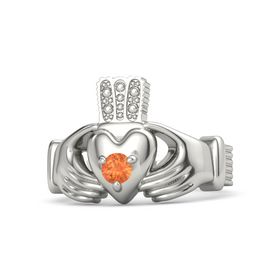 Men's Round Fire Opal 18K White Gold Ring