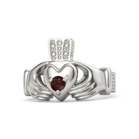 Men's Round Red Garnet 18K White Gold Ring