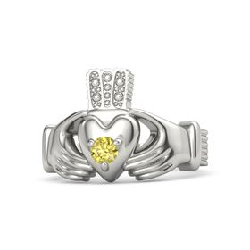 Men's Round Yellow Sapphire 18K White Gold Ring