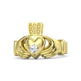 Men's Round Rock Crystal 18K Yellow Gold Ring