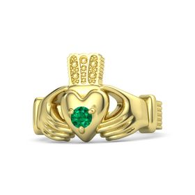 Men's Round Emerald 18K Yellow Gold Ring