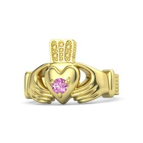Men's Round Pink Sapphire 18K Yellow Gold Ring