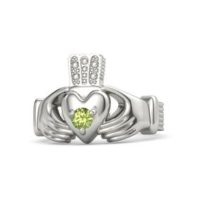 Men's Round Peridot Palladium Ring