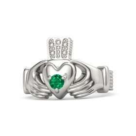 Men's Round Emerald Platinum Ring